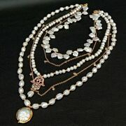 15.5 5 Strands Freshwater White Keshi Pearl Cz Charm Necklace
