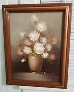 Vintage Framed Floral Still Life Oil On Canvas Painting By Robert Cox 15andtimes20