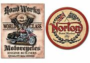 Two Vintage Style Tin Signs - Motorcycles, Choppers For Shop, Man Cave, Garage