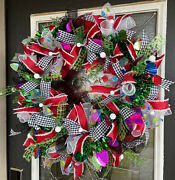 Xl Festive Fun And Funky Colorful Christmas Deco Mesh Front Door Wreath Decoration