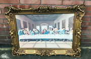 Large Vintage 46 X 34 Last Supper Print Picture Beautiful Plastic Frame