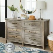 6 Drawer Dresser Rustic Gray Chest Cabinet Farmhouse Wood Bedroom Furniture Us