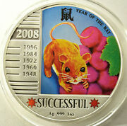 2008 Niue 1 Year Of The Rat Mouse Successful Silver 1oz Coin