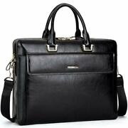 Cluci Women Oil Wax Leather Briefcases Slim Large Business 15.6 Laptop Vinta...