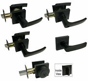 Matte Black Square Base Door Levers Locks Knobs Handle Passage Privacy Keyed