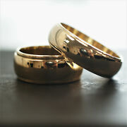 Set 14k Yellow Gold Wide Band Rings W Edging Sizes 6.25 And 10 13.33g Total A2043