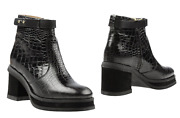 Purified Womens Patricia 1 Chunky Heeled Leather Croc Ankle Boot Andndash Size Us7 Eu37