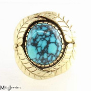 Estate 17.10cts Andrew Redhorse Alvarez Indian Mountain Turquoise 14k Y/g Ring S