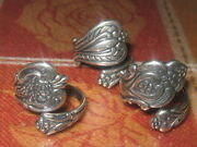 Lot Of 3 Vintage Antique Style Adjustable Silver Spoon Rings Sizes 5-10
