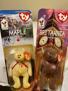 Mcdonalds Britannia And Maple The Bear Rare Retired Ty Beanie Baby Good Condition