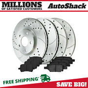 Front And Rear Drilled Slotted Brake Rotors And Performance Ceramic Pads Kit