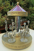 Vintage 1985 Spoontiques 6 Pc Pewter Crystal Figurines And 6 3/4 Carousel Mint