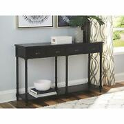 Country Rustic Console Table Entryway Black Wide 4 Drawers Shelf Turned Legs