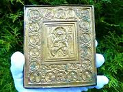 Antique Ancient Orthodox Icon Brass Oklad Jesus Christ With Wings And 18 Saints