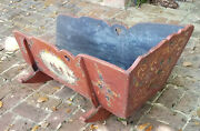 Antique 18c. Hand Painted Country Scene Primitive Baby Rocking Cradle Cot