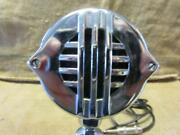 Vintage Astatic Microphone And Stand Antique Old Mike Mic Chrome Steampunk 10033