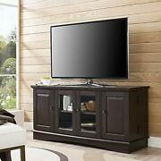 Walker Edison Traditional Wood Universal Stand With Storage Cabinets For Tv`s...