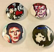 Lot Of 4 Original 1970s David Bowie Buttons Pins Aladdin Heroes Diamond Dogs
