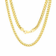 10k Yellow Gold Solid Mens 5mm Round Wheat Box Franco Chain Pendant Necklace 20