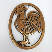 Vintage Oval Cast Iron Trivet Rooster Cock Chicken Wall Decoration Farmhouse
