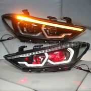 Red Devil Eyes Led Headlights For Hy Elantra Led Front Lamps 2016-2020 Year Lf