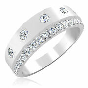 0.74 Ct Natural Diamond Engagement Rings 14k White Gold Menand039s Bands Size 9.5 10