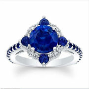 2.94 Ct Real Blue Sapphire Diamond Ring 14k White Gold Wedding Rings Size 6 7 8