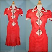 Vintage 30s Red Sheer Ruffle Top And Skirt Glass Buttons 24 Waist Xs