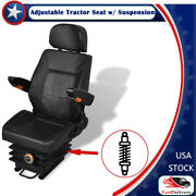 Adjustable Tractor Seat With Suspension Black Open Designed 41.7x19.7x20.5 Inch