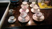 Vintage English Made Bone China Tea Cups Lot Of 8 Different Ones See Pictures