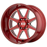 4 20x10 Xd Wheels Xd844 Pike Brushed Red Mill Accent Off Road Rims + Blk Lugs