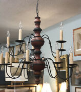 Vintage Colonial Hand Crafted Hanging Ceiling Chandelier Red Wash New England
