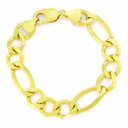 Real 14k Yellow Gold Solid Mens 12mm Large Figaro Chain Link Bracelet 8 8.5 9