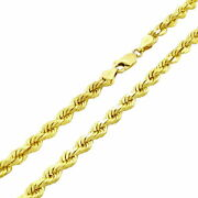 Solid 10k Yellow Gold 5mm Diamond Cut Rope Chain Necklace Lobster Clasp Men- 28