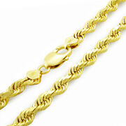 10k Yellow Gold Genuine Mens Solid Thick 7mm Diamond Cut Rope Chain Necklace 26