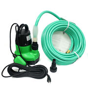1-1/4hp Submersible Sump Pump And 50ft Garden Hose For Dirty Water Pool Pond Drain