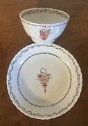 Antique Chinese Export Porcelain Tea Cup Bowl And Saucer Famille Rose 19th Century