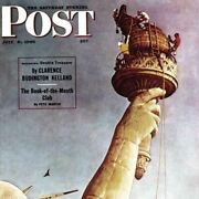 Norman Rockwell Famous Artwork Cleaning Cloth Working On The Statue Of Liberty