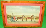 Lady Driving A 2-horse Carriage C1929 Gouache By H. W. Standing