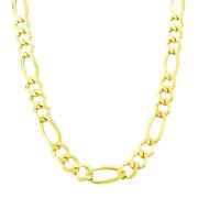 14k Solid Yellow Gold Mens 8.5mm Figaro Link Chain Necklace Lobster Clasp 22