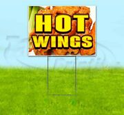 Hot Wings 18x24 Yard Sign With Stake Corrugated Bandit Usa Business Food