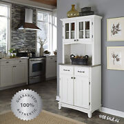 Kitchen Buffet Hutch Solid Wood White Server Storage Cabinet Drawers Stainless T
