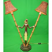 Pair Of Monkey And039bellhopand039 Metal Bamboo Lamps W/ Leopard Print Felt Shades New