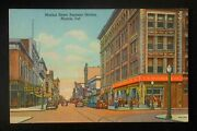 1940s Walnut Street Business Section Old Cars Stoers Signs Woolworth Muncie In