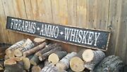 Firearms Ammo Whiskey/large/wood/sign/western/decor/bar/man Cave