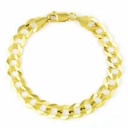 10k Real Yellow Gold 11mm Large Mens Italian Curb Cuban Link Chain Bracelet 8.5