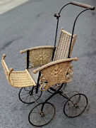 """Antique 22""""long Wicker Baby Carriage.good Condition-late 18th-early 19th Century"""