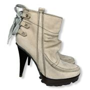 Brinley Co. Size 6 Beige High Stiletto Heel Shoes Zip Up Ankle Booties