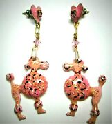 Vintage Lunch At The Ritz Pink Poodle Dog Dangle Earrings 1989