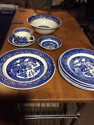 Homer Laughlin Blue Willow Vintage Dishes 9 Pieces